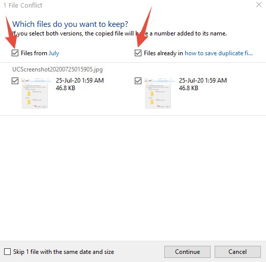 how to save duplicate files