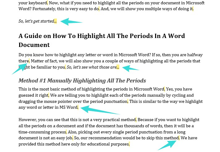 how to highlight all the periods in a word document